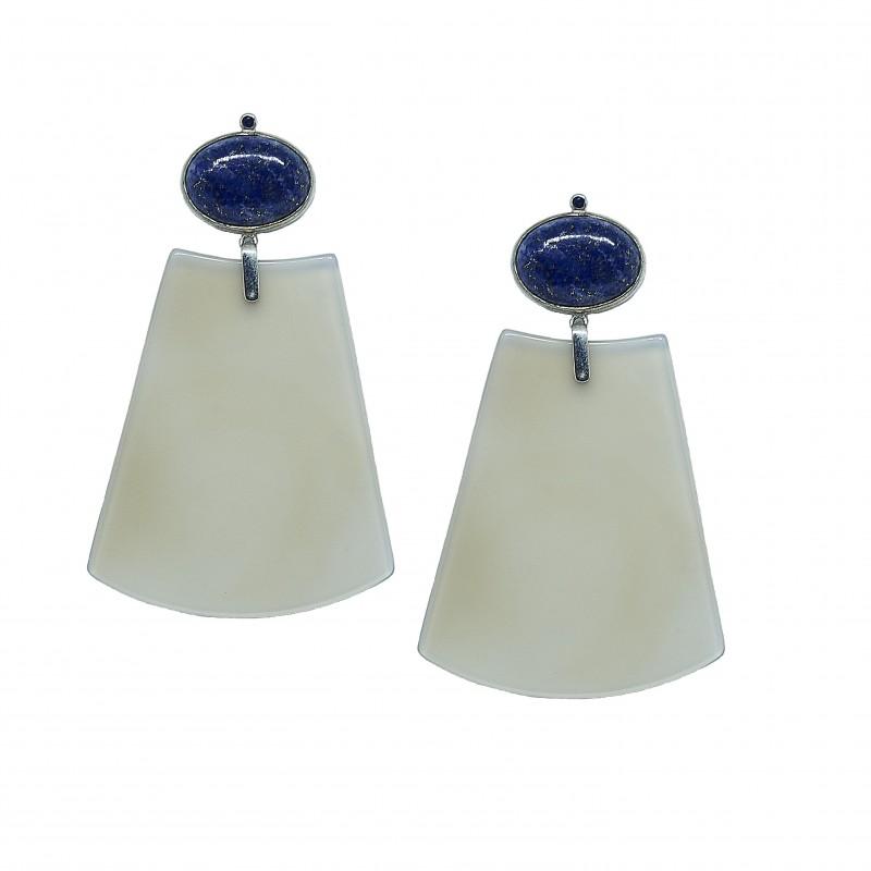 Brinco Cult - Ágata, Lapís Lazúli e Safira Azul